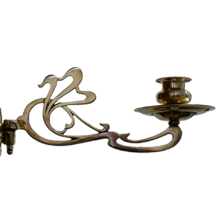 Sconces - Antique Art Nouveau Brass Piano Candle Sconce